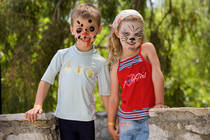 two face painted children